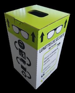 box pour collecter les lunettes de sécurité